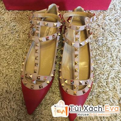 Giày Valentino Flat Super Quai Đinh Tán Màu Đỏ Đẹp