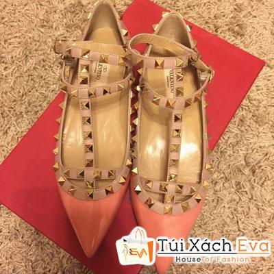 Giày Valentino Flat Super Quai Đinh Tán Màu Hồng Da Đẹp