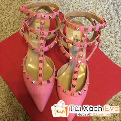 Giày Valentino Flat Super Quai Đinh Tán Màu Hồng Phấn Đẹp