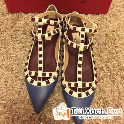 Giày Valentino Flat Super Quai Đinh Tán Màu Xanh Cobalt Đẹp