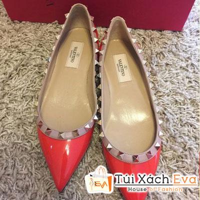 Giày Valentino Flat Super Viền Đinh Tán Màu Đỏ Đẹp