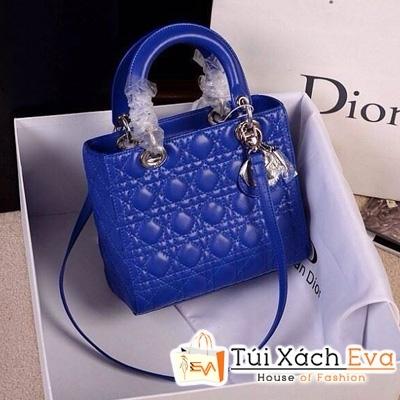 Túi Xách Dior Lady Super Da Lì 5 Ô Màu Xanh Cobalt Đẹp
