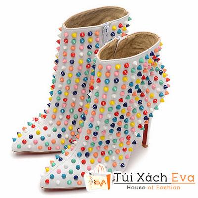 Giày Gót Nhọn Christian Louboutin Ankle Boots Super Đinh Tán Màu Trắng Đẹp