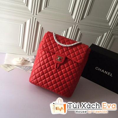 Balo Chanel Backpack Siêu Cấp Màu Đỏ Rút Da Lì Khóa Bạc A69964