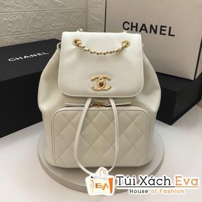 Balo Chanel Backpacks Caviar Nữ Siêu Cấp Màu Trắng