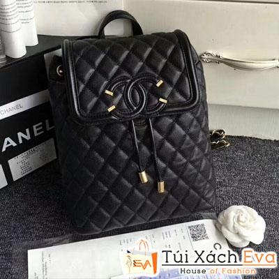 Balo Chanel Siêu Cấp Da Hạt Màu Đen