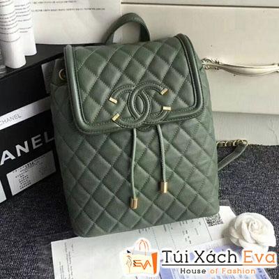 Balo Chanel Siêu Cấp Da Hạt Màu Xanh Rêu