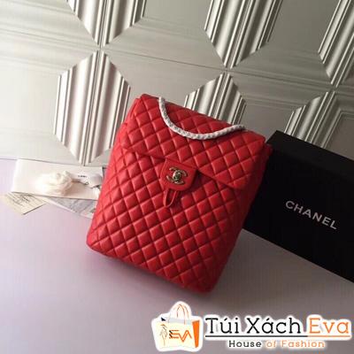 Balo Chanel Siêu Cấp Da Lì Khóa Bạc Màu Đỏ