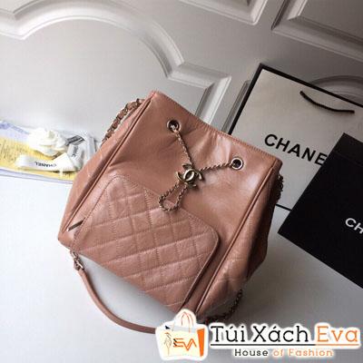 Balo Chanel Siêu Cấp Da Nhăn Màu Hồng