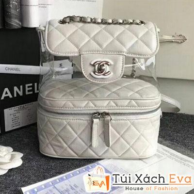 Balo Chanel Siêu Cấp Da Nhăn Màu Trắng