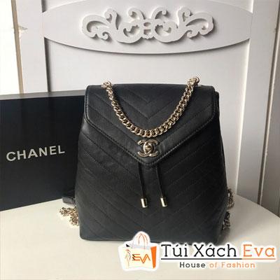 Balo Chanel Siêu Cấp Sọc V Rút Màu Đen A08159