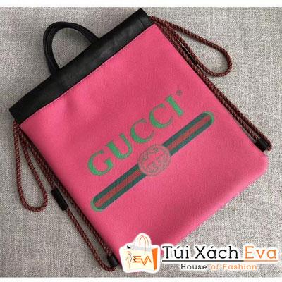 Balo Gucci Print Backpack Bag Siêu Cấp Màu Hồng 523586