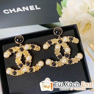 Bông Tai Chanel Super Logo Đính Đá