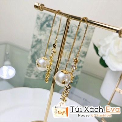 Bông Tai Dior Super Dài Logo Kèm Ngọc Trai