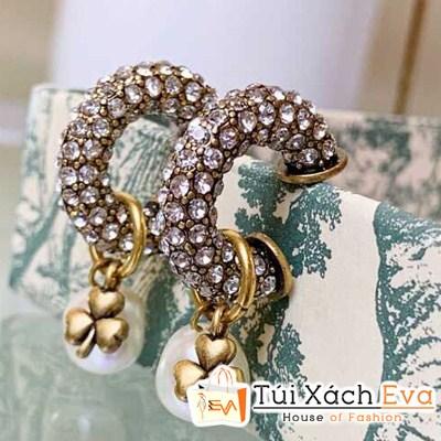 Bông Tai Dior Super Đính Đá Cỏ Ba Lá