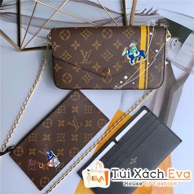 Clucth Lv Felicie Chain Wallet GM Kèm 2 Ví Hoa Nâu Siêu Cấp M612768