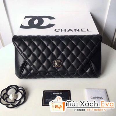 Cluth Chanel Siêu Cấp Nắp Gập Da Lì Màu Đen