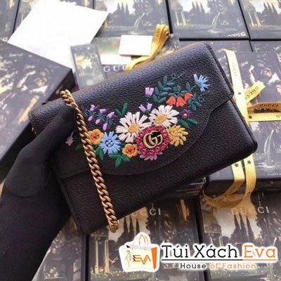 Cluth Gucci Embroidered Leather Mini Siêu Cấp Màu Đen