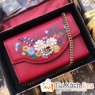 Cluth Gucci Embroidered Leather Mini Siêu Cấp Màu Đỏ