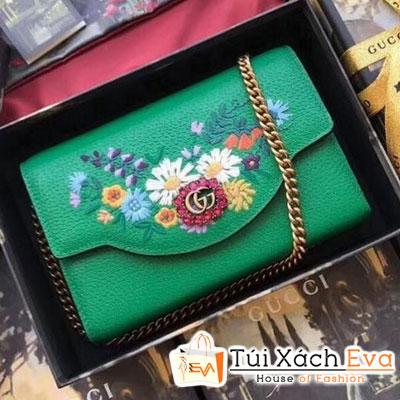 Cluth Gucci Embroidered Leather Mini Siêu Cấp Màu Xanh Lá