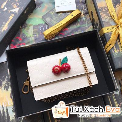 Cluth Gucci Siêu Cấp Cherry Màu Trắng
