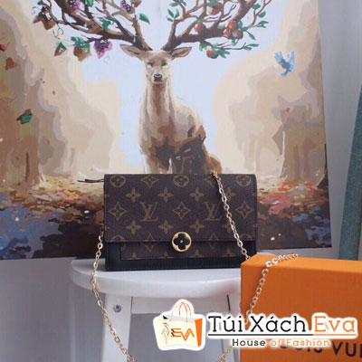 Cluth Lv Flore Chain Wallet Siêu Cấp Khóa Hoa Màu Đen Hoa Nâu M67404