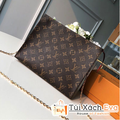 Cluth Lv Monogram Canvas Toiletry Chain Pouch 26 Siêu Cấp Hoa Nâu M47562