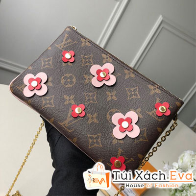 Cluth Lv Pochette Double Zip  Siêu Cấp Hoa Nâu M63905