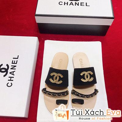 Dép Chanel Super Quai Ngang Xỏ Ngón Màu Đen