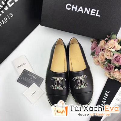Giày Bata Chanel Super Màu Đen Chữ Đính Đá