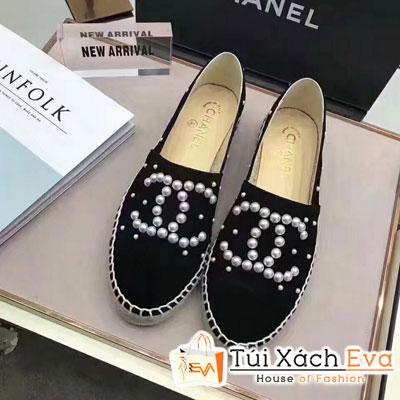 Giày Bata Chanel Super Màu Đen Nhung Chữ Ngọc Trai
