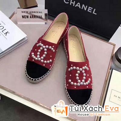 Giày Bata Chanel Super Màu Đỏ Nhung Chữ Ngọc Trai