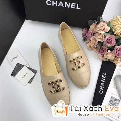 Giày Bata Chanel Super Màu Kem Chữ Đính Đá
