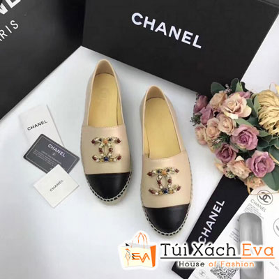 Giày Bata Chanel Super Màu Kem Đen Chữ Đính Đá