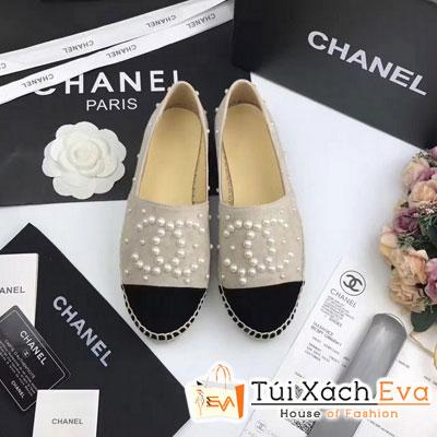 Giày Bata Chanel Super Màu Kem Nhung Chữ Ngọc Trai