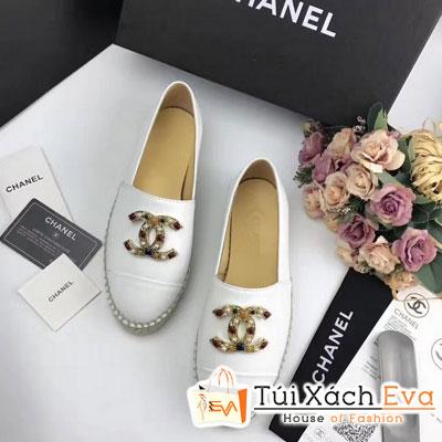 Giày Bata Chanel Super Màu Trắng Chữ Đính Đá