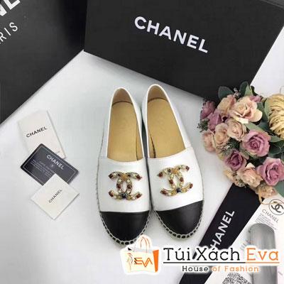 Giày Bata Chanel Super Màu Trắng  ĐenChữ Đính Đá