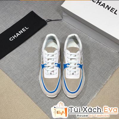 Giày Bata Chanel Super Màu Xám Viền Xanh Dương