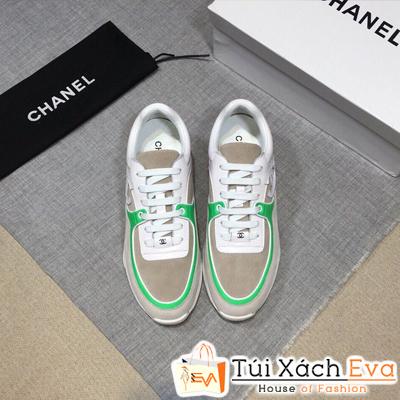 Giày Bata Chanel Super Màu Xám Viền Xanh Lá