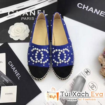 Giày Bata Chanel Super Màu Xanh Dương Nhung Chữ Ngọc Trai