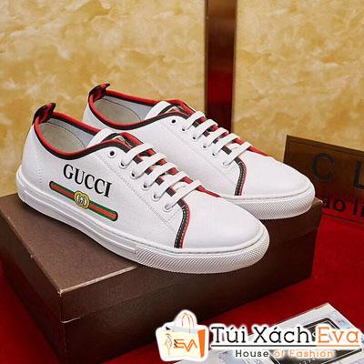 GIày Bata Gucci Trắng Viền Đỏ