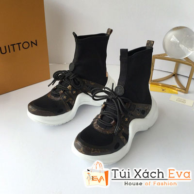 Giày Bata Lv Super Cổ Cao Hoa Nâu Màu Đen