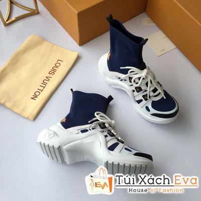 Giày Bata Lv Super Cổ Cao Màu Xanh Dương Đậm