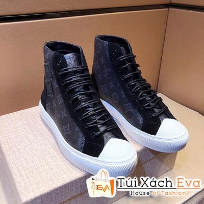 Giày Boot Lv Super Hoa Đen Lớp Lót Da Cừu (Có Nhung)