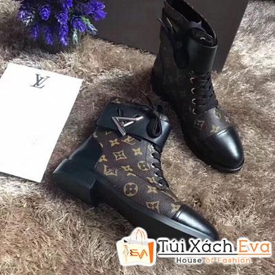 Giày Boot Lv Super Hoa Nâu