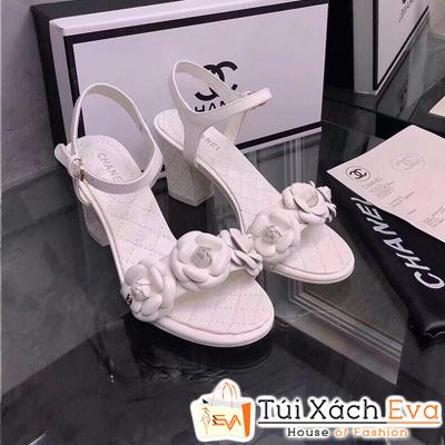 Giày Cao Gót Chanel Super Quai Ngang Màu Trắng