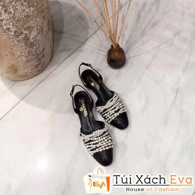 Giày Cao Gót Chanel Super Quai Ngang Ngọc Trai Màu Đen