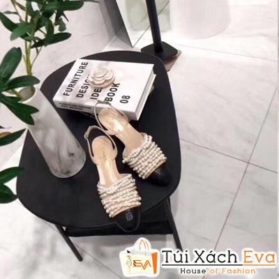 Giày Cao Gót Chanel Super Quai Ngang Ngọc Trai Màu Nâu