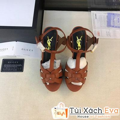 Giày Cao Gót  Ysl Super  Màu Nâu