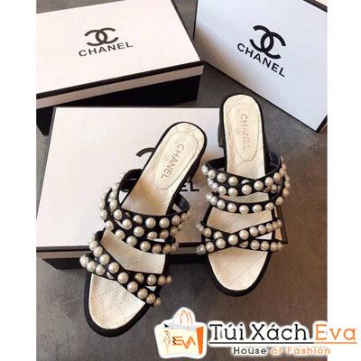 Giày Chanel Super Quai Chéo Đính Ngọc Trai Màu Đen